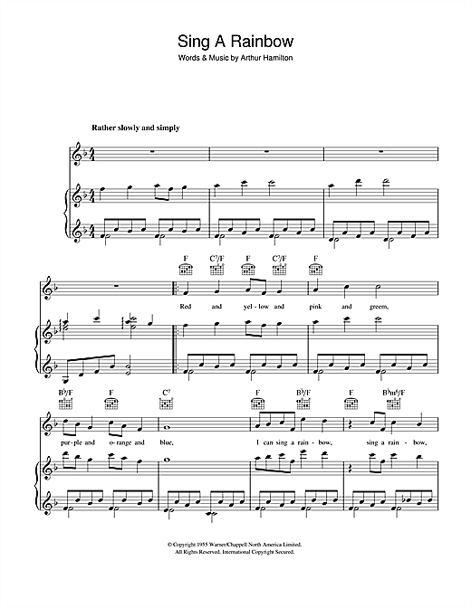 Sing A Rainbow Sheet Music