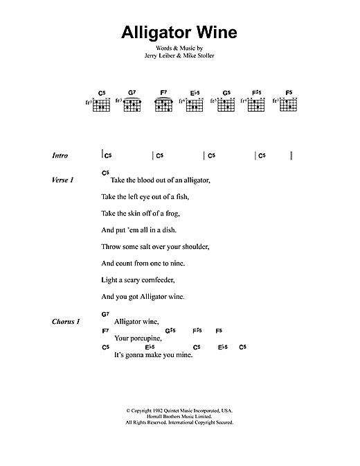 Alligator Wine Sheet Music