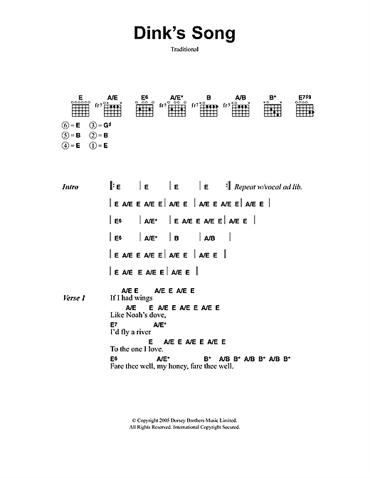Dink's Song Sheet Music