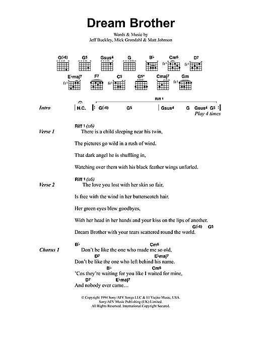 Dream Brother sheet music by Jeff Buckley (Lyrics & Chords – 41310)