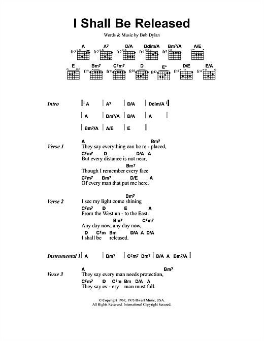 I Shall Be Released sheet music by Jeff Buckley (Lyrics & Chords ...
