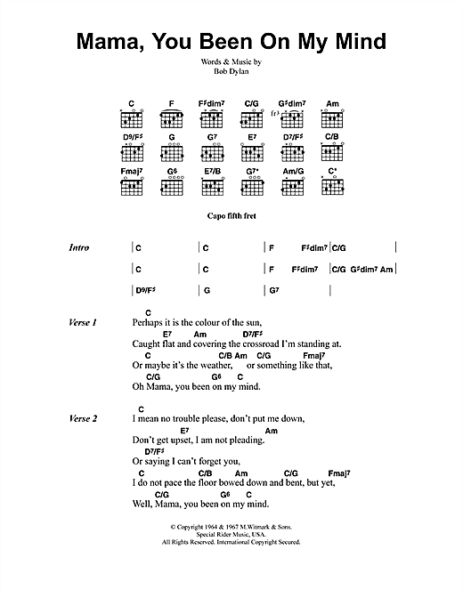 Mama You Ve Been On My Mind Chords Image Collections Chord Chart
