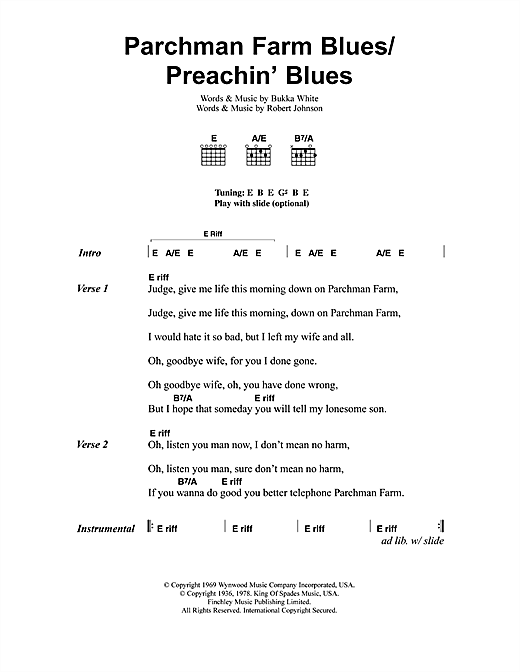Parchman Farm Blues/Preachin' Blues Sheet Music