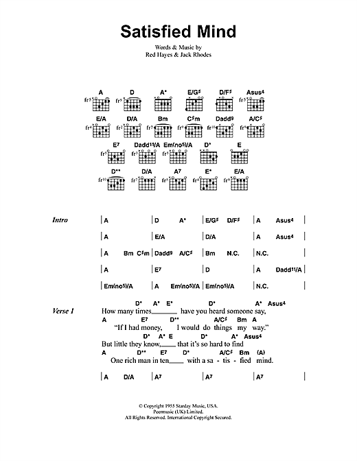 Satisfied Mind Sheet Music