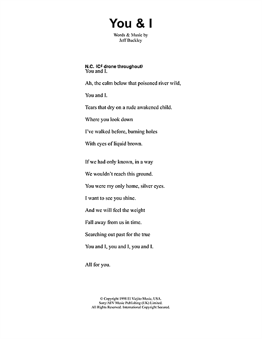 You And I sheet music by Jeff Buckley (Lyrics & Chords – 41367)