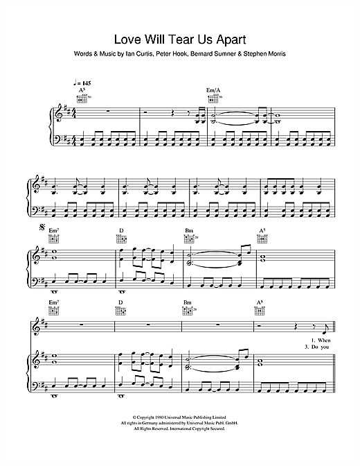 Love Will Tear Us Apart Sheet Music