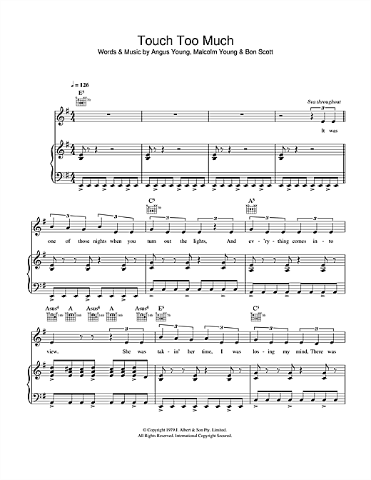 Touch Too Much Sheet Music