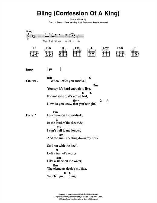 Bling (Confession Of A King) (Guitar Chords/Lyrics)