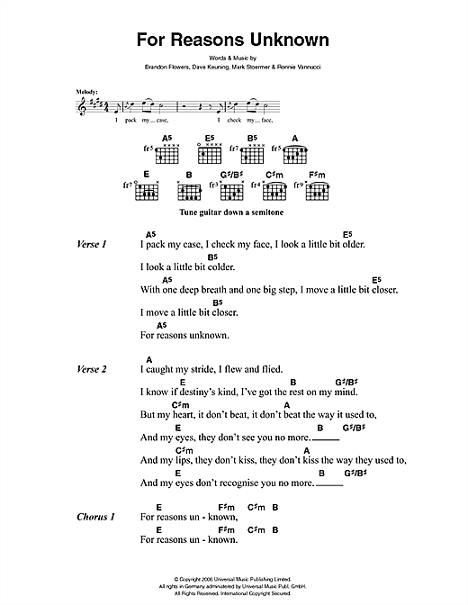 For Reasons Unknown (Guitar Chords/Lyrics)