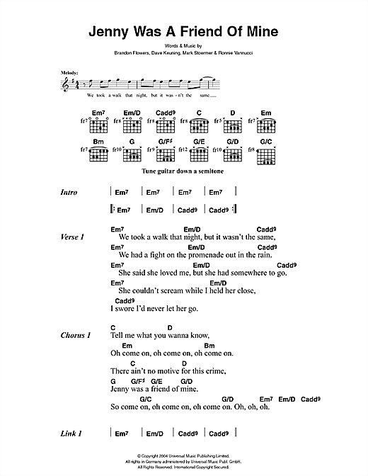 Jenny Was A Friend Of Mine Sheet Music