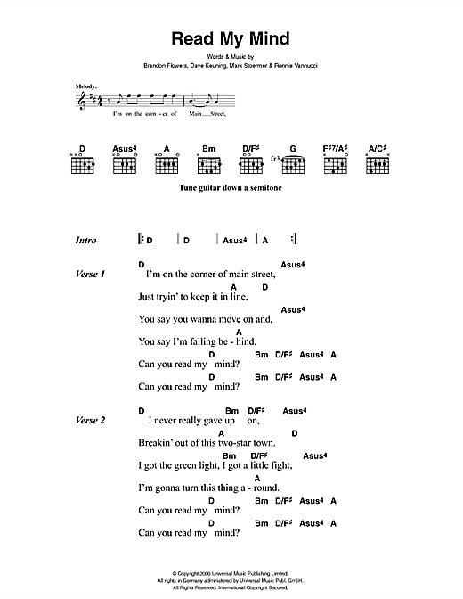 Read My Mind (Guitar Chords/Lyrics)
