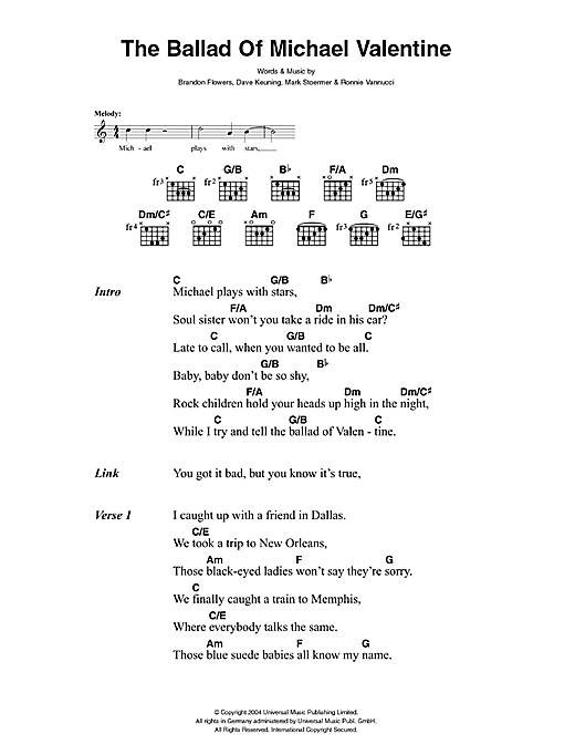 The Ballad Of Michael Valentine Sheet Music