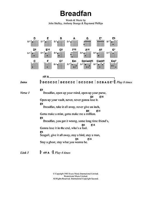 Breadfan Sheet Music