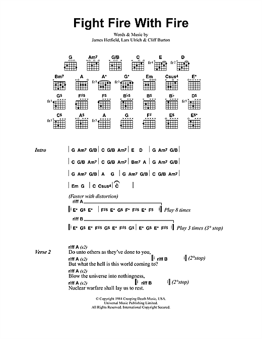 Fight Fire With Fire (Guitar Chords/Lyrics)