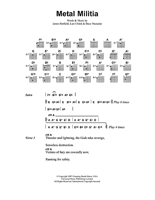 Metal Militia (Guitar Chords/Lyrics)