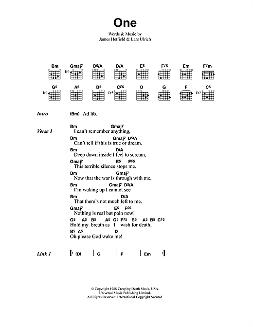 One Sheet Music By Metallica Lyrics Chords 41502