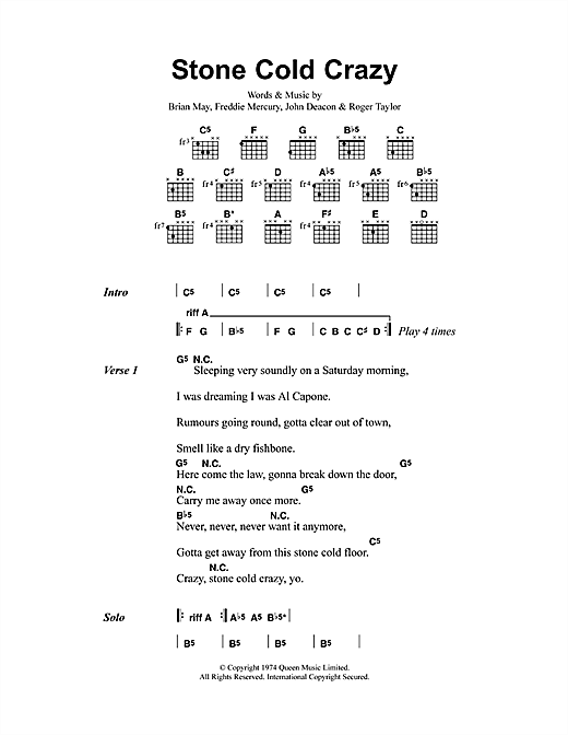 Stone Cold Crazy (Guitar Chords/Lyrics)