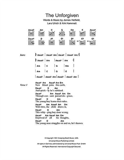 The Unforgiven Sheet Music By Metallica Lyrics Chords 41488
