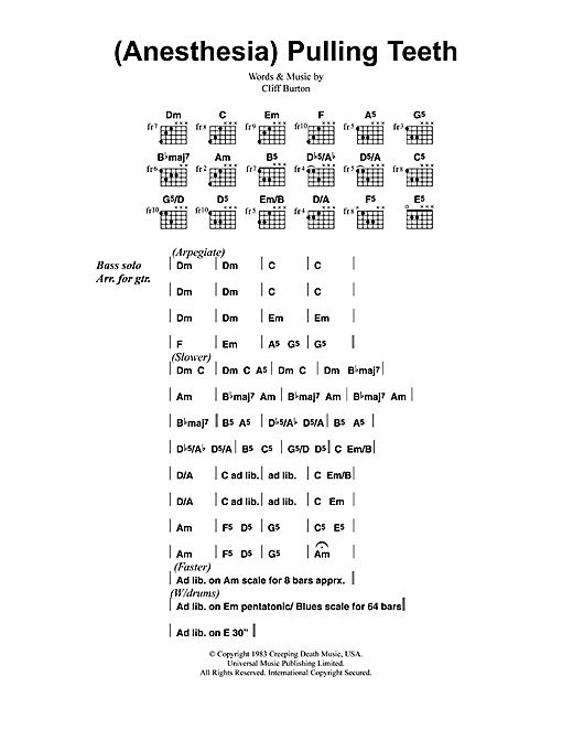(Anesthesia) Pulling Teeth Sheet Music