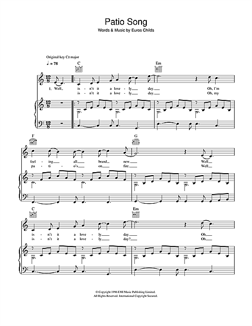 Patio Song Sheet Music