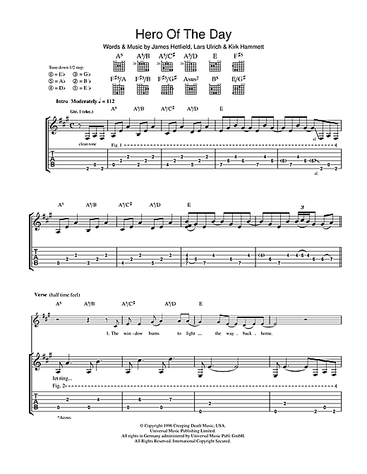 Tablature guitare Hero Of The Day de Metallica - Tablature Guitare