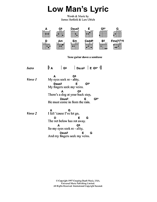 Low Man's Lyric Sheet Music