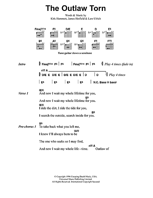 The Outlaw Torn sheet music by Metallica (Lyrics & Chords – 41620)