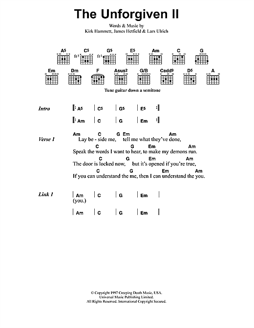 The Unforgiven Ii Sheet Music By Metallica Lyrics Chords 41603