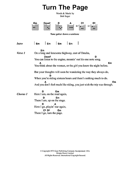 Turn The Page sheet music by Metallica (Lyrics & Chords – 41596)