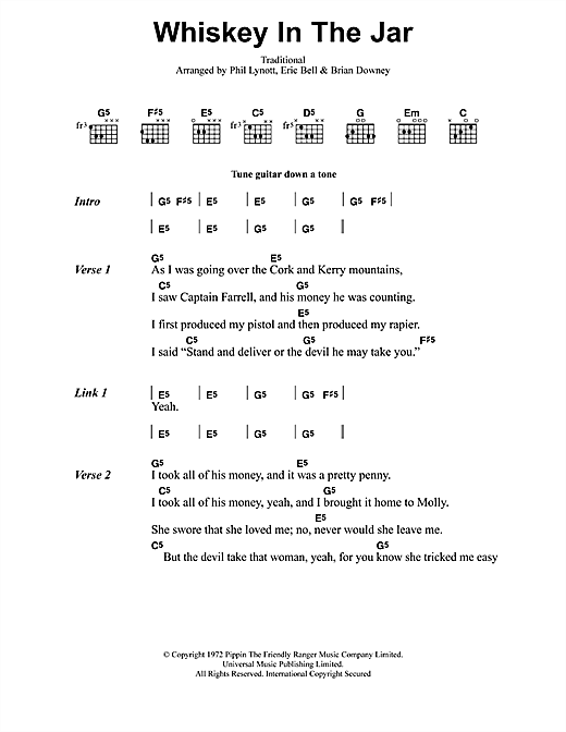 Whiskey In The Jar (Guitar Chords/Lyrics)