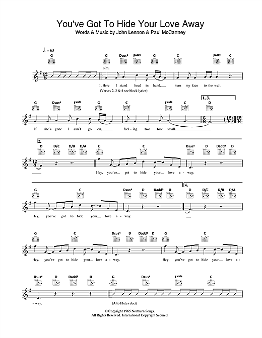 You've Got To Hide Your Love Away (Lead Sheet / Fake Book)