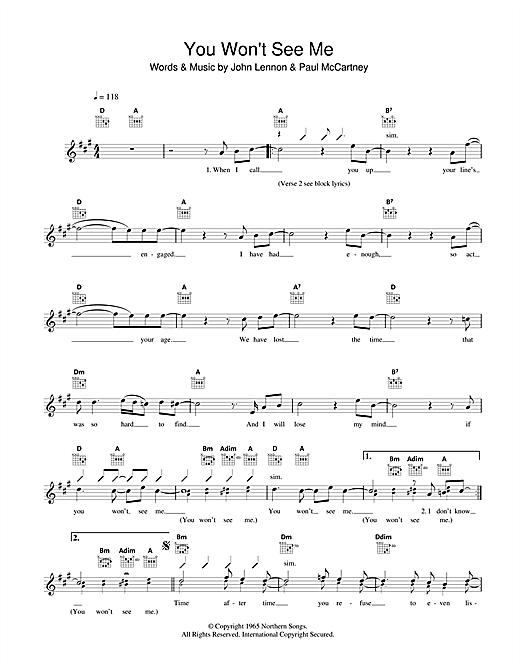 You Won't See Me Sheet Music