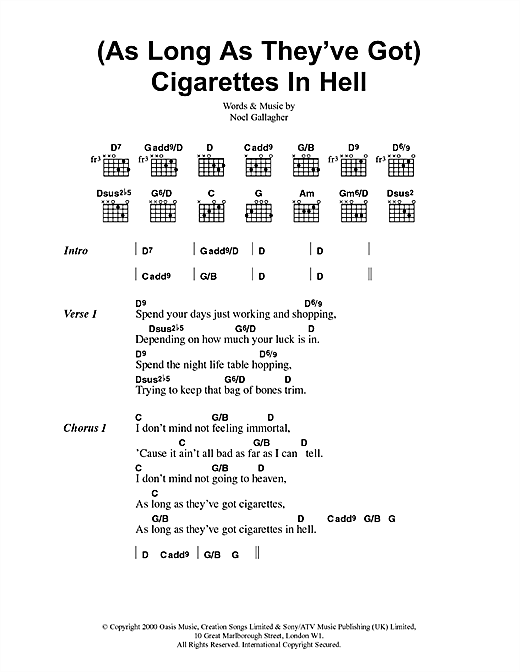 (As Long As They've Got) Cigarettes In Hell Sheet Music