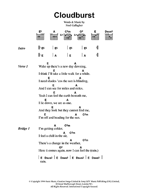 Cloudburst (Guitar Chords/Lyrics)