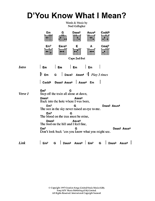 Dyou Know What I Mean Sheet Music By Oasis Lyrics Chords 41742