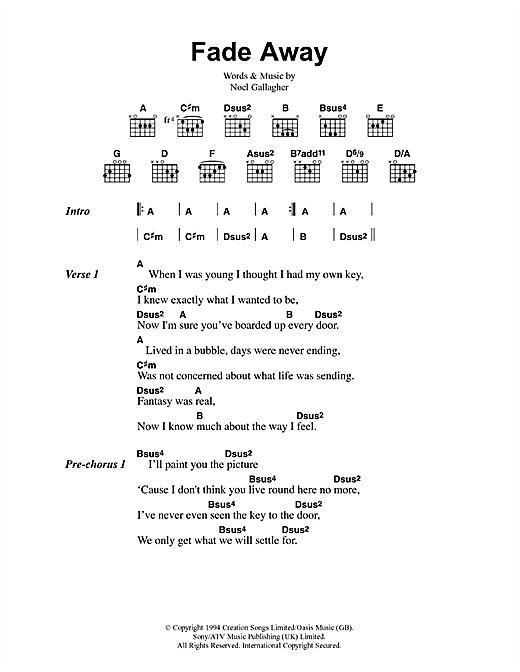 Fade Away (Guitar Chords/Lyrics)