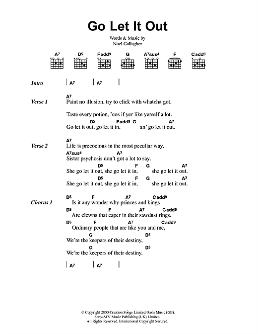 Go Let It Out (Guitar Chords/Lyrics)