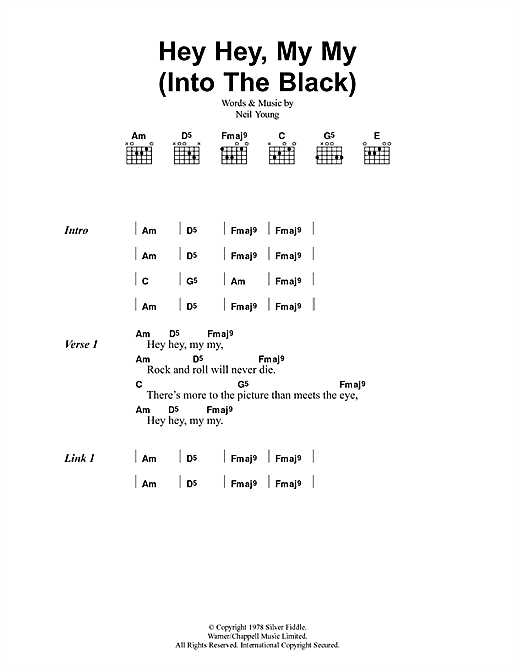 Hey Hey, My My (Into The Black) Sheet Music