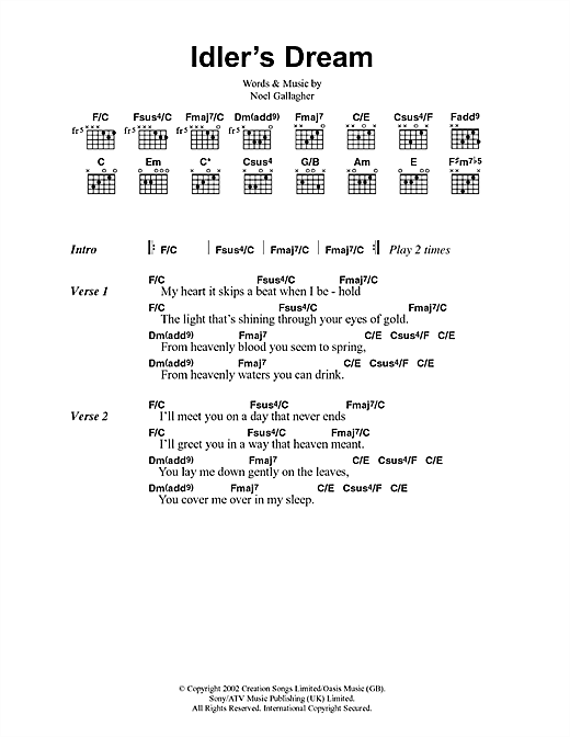 Idlers Dream Sheet Music By Oasis Lyrics Chords 41673