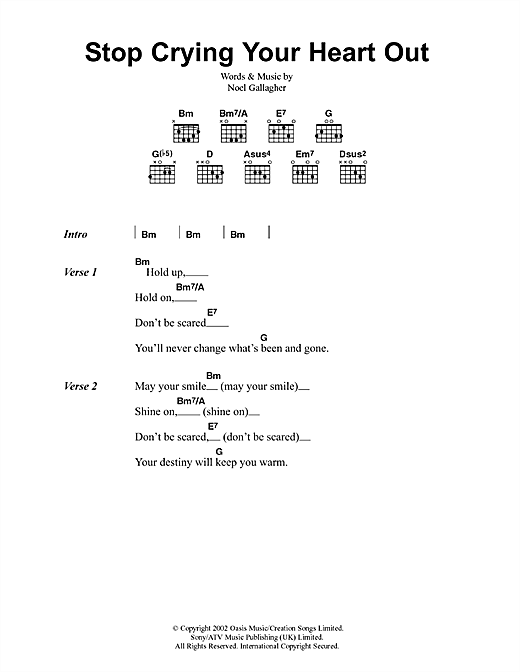 Stop Crying Your Heart Out (Guitar Chords/Lyrics)
