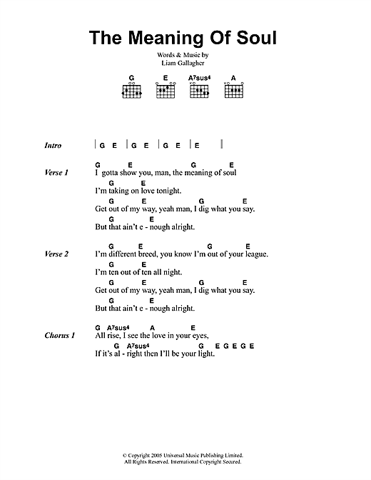 The Meaning Of Soul sheet music by Oasis (Lyrics & Chords – 41725)