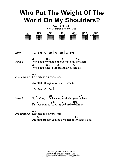 Who Put The Weight Of The World On My Shoulders Sheet Music By