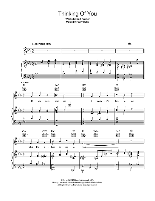 Thinking Of You Sheet Music