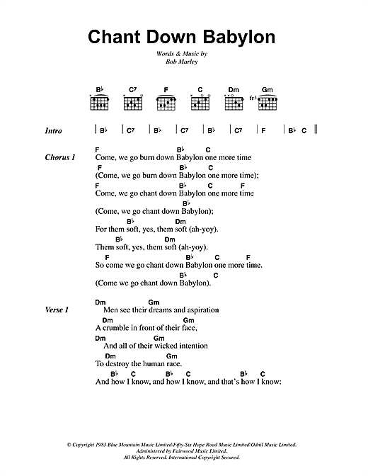 Chant Down Babylon Sheet Music