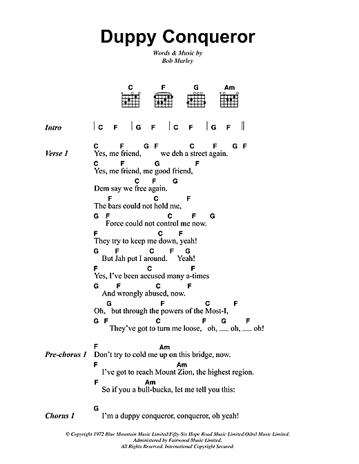 Duppy Conqueror Sheet Music