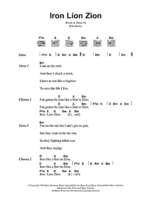 Iron Lion Zion Sheet Music
