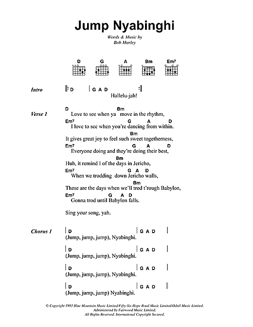 Jump Nyabinghi Sheet Music