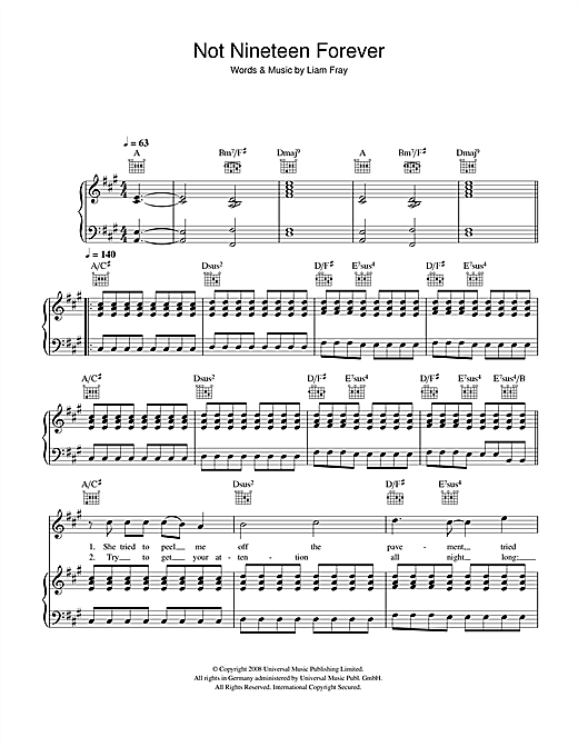Not Nineteen Forever Sheet Music By The Courteeners Piano Vocal