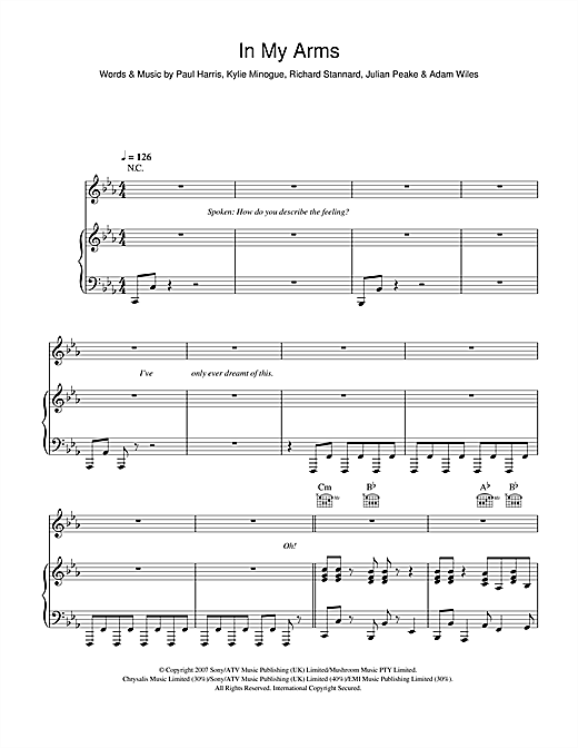 In My Arms Sheet Music