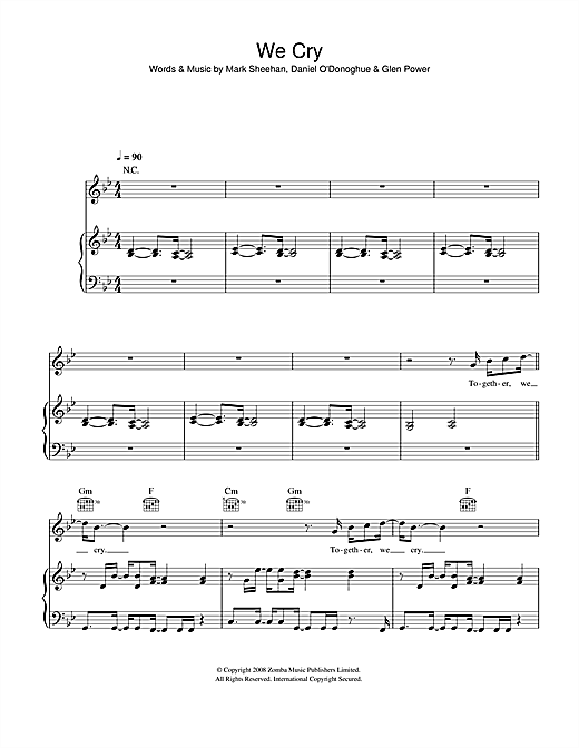 We Cry Sheet Music